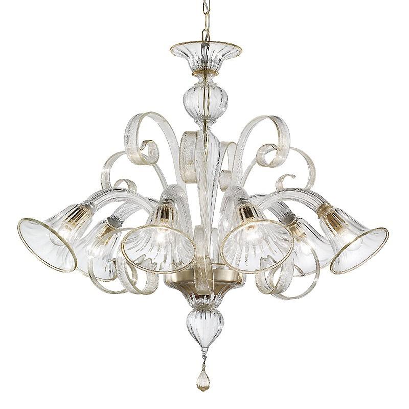 Pastorale, lampadario di murano 6 luci cristallo oro