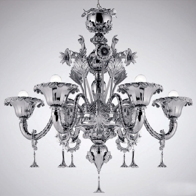 Veneziano argento oro, lampadario di murano 6 luci cromato